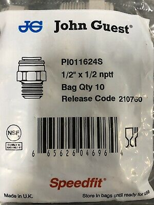"JOHN GUEST Quick Connect Male Adapter SPEED FIT 1/2"" x 1/2 nptf PI011624S 10 PK"