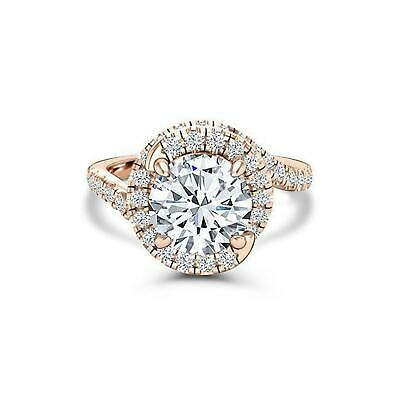 Swirl Twist Solitaire Engagement Ring 2ct Round Cut Diamond 14k Rose Gold Over