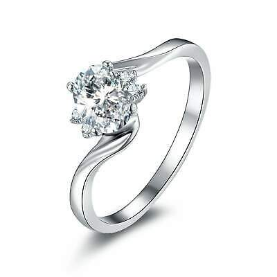 2ct Oval Cut Diamond Engagement Ring Swirl Twist Solitaire 14k White Gold Over