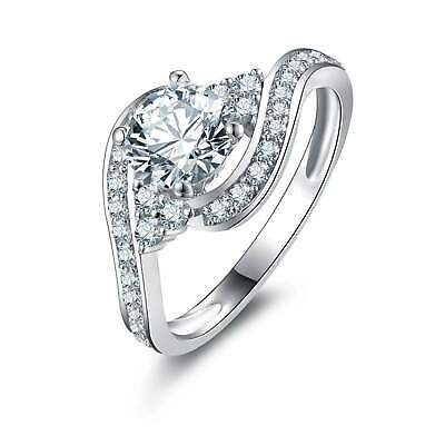 3ct Round Cut Diamond Swirl Twist Solitaire with Accent Ring 14k White Gold Over