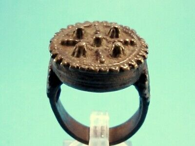 CHOICE POST MEDIEVAL HUGE BRONZE RING known as REX RING!!!