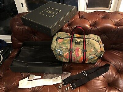 $2500 Gucci Floral Snakes Military Green Canvas Tiger Leather Duffle Travel Bag