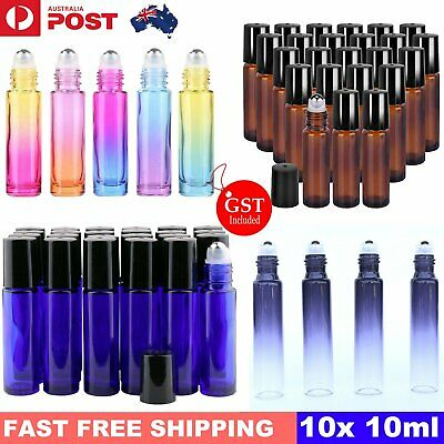 10PCS 10ml Glass Roller Bottles Big Steel Ball Roll On Bottle For Essential Oils