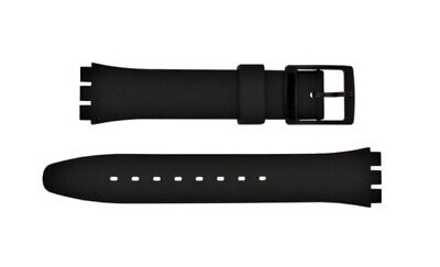 Replacement 17mm (20mm) Watch Strap for SWATCH - Black Resin