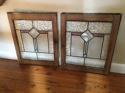 Antique, Two Genuine Art Deco Leadlight Panels (matching cabinet pair)