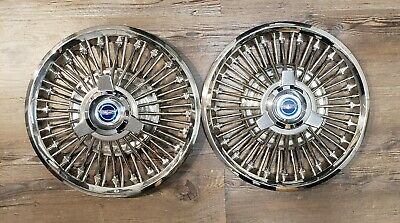"1965 1966 1967 Ford Mustang & Fairlane 14"" wire spoke spinner hubcaps oem fomoco"