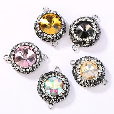 For DIY Jewelry Making Round Bracelet Charm Rhinestone Connectors Multicolor