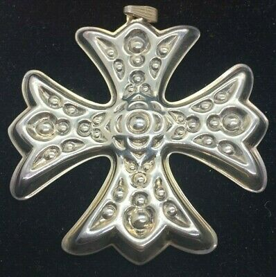 1975 Reed & Barton Sterling Silver Christmas Cross Ornament With Red Felt Pouch