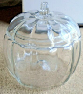 Vintage Anchor Hocking Clear Glass Pumpkin Cookie Candy Jar Canister