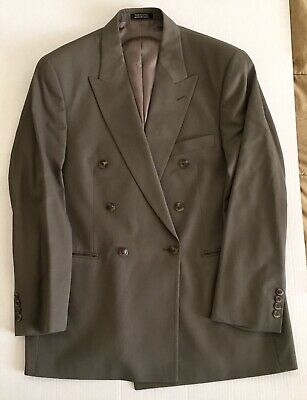 STAFFORD 100% Wool Olive Green 2 Piece Mens Suit Jacket Sz 42R Pants 37 Short