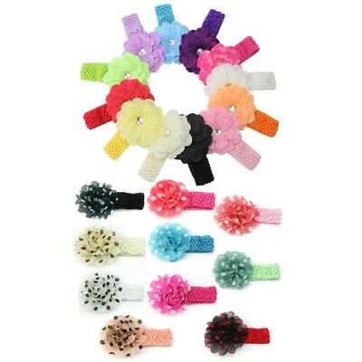 12 x Kids Girl Baby Toddler Cute Flower Headband Hair Band Accessories He XCW