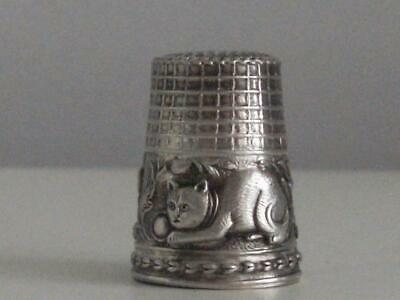 SOLID STERLING SILVER THIMBLE Wonderful Cat Design