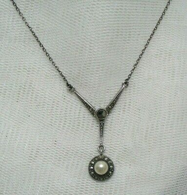 Vtg Antique Edwardian-Art Deco Continental Hm Silver Marcasite Lavalier Necklace