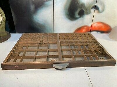 Antique Helena French Beech Timber Printers Letter News Trinket Display Tray