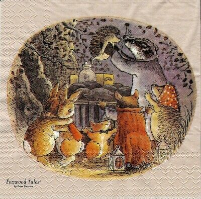 Set of 2x napkins Foxwood Tales for collection ,decoupage, mixed media