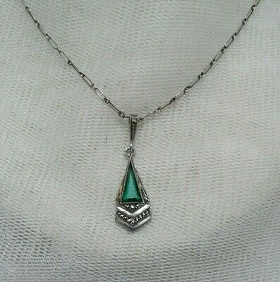 Vintage Antique Art Deco Emerald Glass Marcasite Continental Silver Hm Necklace
