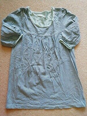 Girls M&S Striped Smock Top Age 9 Years 100% Cotton