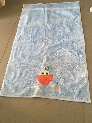 Blue Towel With Boat Design