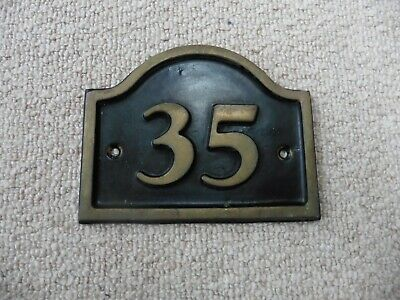 Solid brass house number 35 wall plaque