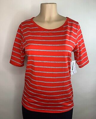 LuLaRoe Blouse size large orange gray striped short sleeve womens gigi top new