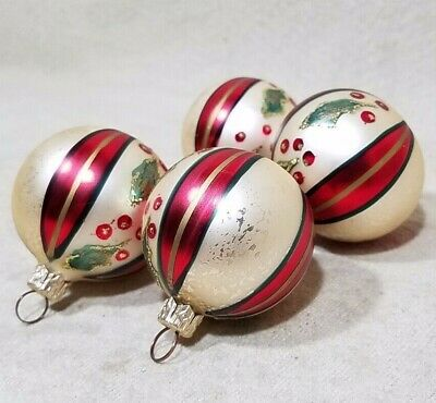 """Christmas Glass Ornament Lot Of 4 Balls Red Cream Striped Holly Berry Glitter 2"""""""