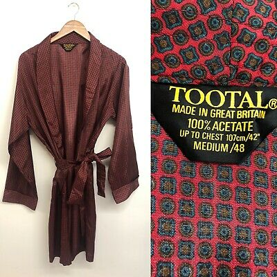 Mens Vintage Original 1960s 70s TOOTAL dressing gown smoking jacket robe Medium