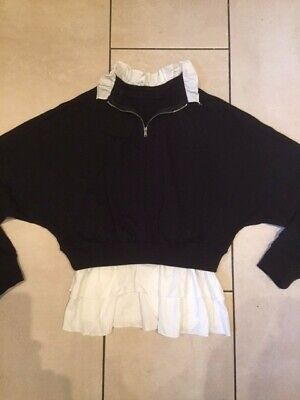 Fab Older Girls 2 in one zip neck Sweater, ruffles attached at hem & neck,size L