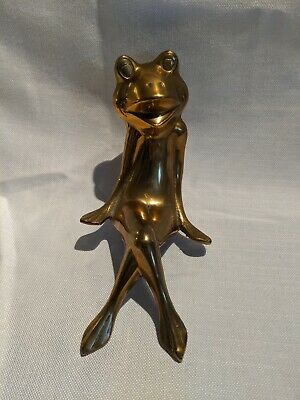 Vintage Large Brass Frog Shelf Sitter Sitting Frog Ornament Figurine Metalware