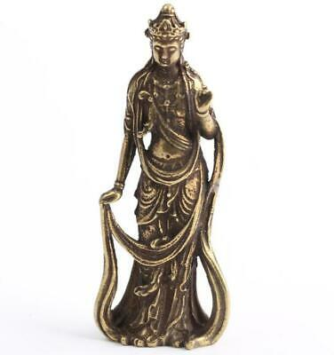 Chinese old collection handwork bronze Guanyin Bodhisattva pocket statue Gift