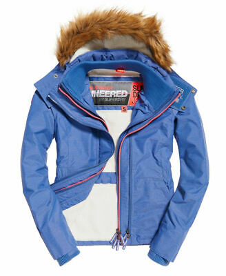 Womens Superdry Hooded Fur Sherpa SD-Wind Attacker Jacket Light Blue Marl M