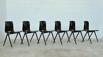 Set of 6 Pagholz stackable industrial chairs 70s Galvanitas