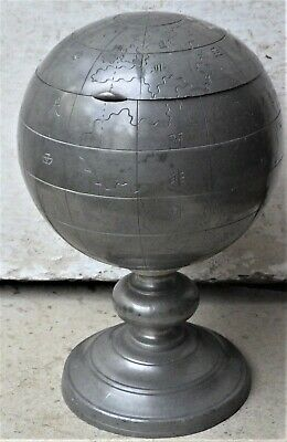 NO RESERVE Chinese Pewter Globe Tea Caddy Tobacco Jar Box Vintage