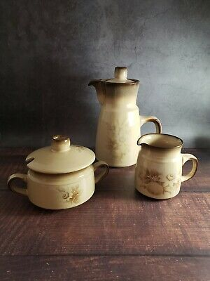 Denby Memories Coffee Pot, Sugar Bowl and Creamer Set, Handcrafted in England