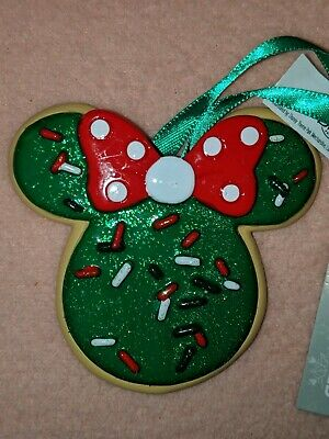 Disney Parks Sweet Treats 2019 Minnie Ear Christmas Cookie Holiday Ornament New