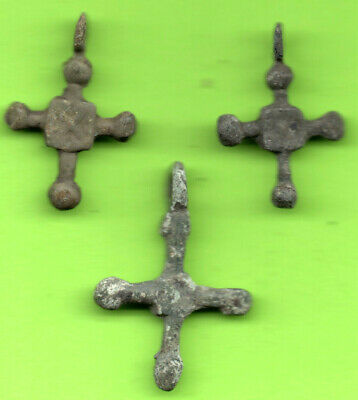 Lot 3 Ancient Viking Enamel Bronze Cross Kiev Russia Ukraine 1100 Byzantine 66