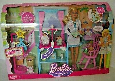 Barbie I Can Be A Newborn Baby Doctor Doll/Playset RARE 2009 w/2 Krissy Infant
