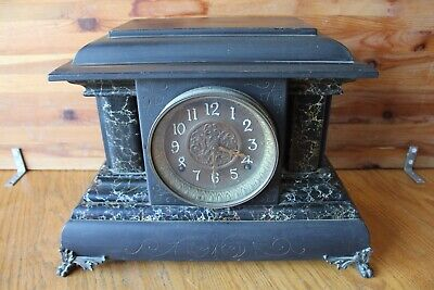 Mantle Clock Vintage Early 1900 pendulum & chime Antique wooden brass claw feet