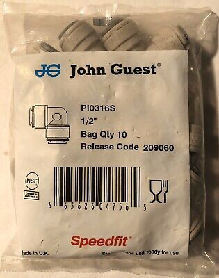 """10 Pack John Guest Union Elbow 1/2"""" Tube PI0316S Speed-Fit"""