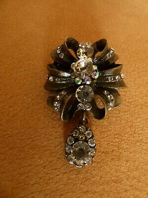 Ancienne Broche  Cristal Et Strass