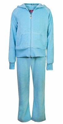 Love Lola Childrens Girls Velour Tracksuit Turquoise Age 5/6
