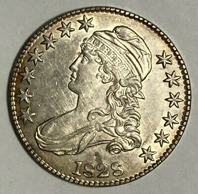 1828 Sq Base 2, Small 8, Large Letters O-117 R-1 Capped Bust US Half Dollar