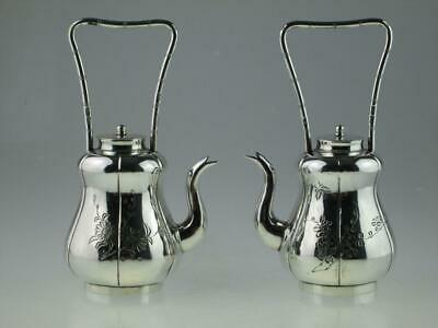 Rare Antique 19th Century Chinese Silver Teapots Circa 1880