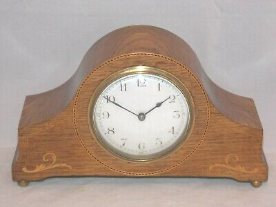 French 8Day Clock With Platform Escapement In Beautiful Inlaid Oak Wooden Case.