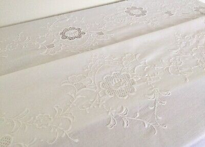 Vintage Stunning White Madeira Cotton Hand Embroidered Oval Banquet Tablecloth