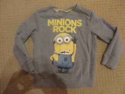 boys boy sweatshirt jumper top grey minion age 7 years long sleeved next