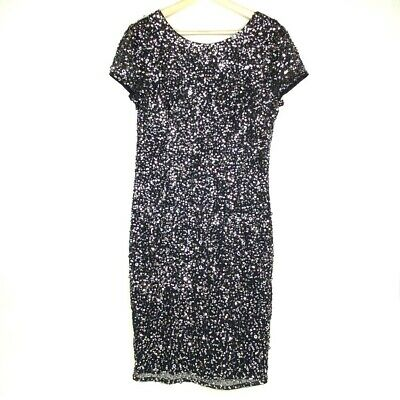 Adrianna Papell Womens Sequined Dress Black Scoop Neck Short Sleeve Zip Lined 12