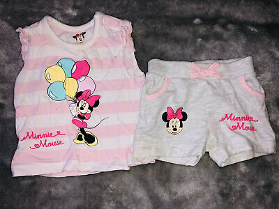 Disney Minnie Mouse Girls Top & Shorts Outfit 3-6 Months