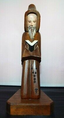"Vintage 9"" Wooden Hand Carved Monk, Priest. Mexico"