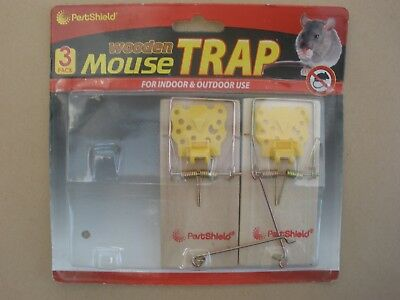 Carded pair of PestShield wooden MOUSE TRAPS