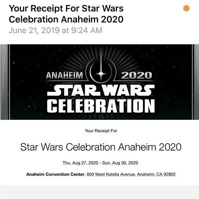 Star Wars Celebration Anaheim 2020 Adult 4 Day Pass Sold Out